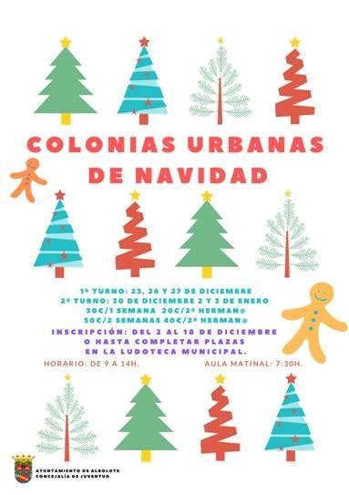 Cartel de las colonias urbanas de Navidad que ofrece el Ayuntamiento de Albolote