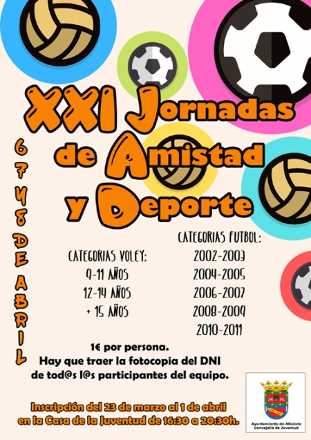 Cartel de las XXI Jornadas de Amistad y Deporte de Albolote