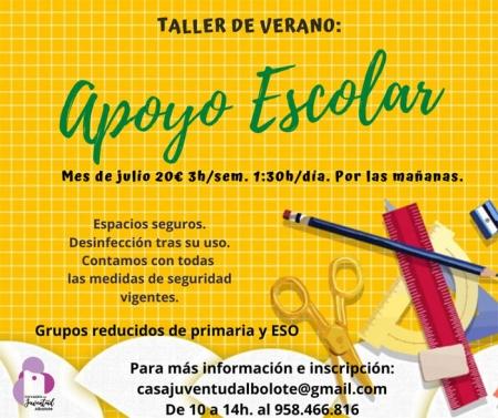 Cartel promocional de los talleres de apoyo en verano
